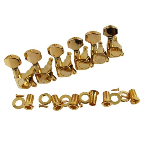 Musiclily 6-in-line Sealed Electric Guitar String Tuning Pegs Keys Machine Head Tuners Set Right Hand for Fender Stratocaster Tele Guitar ,Gold