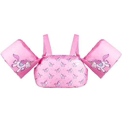 Kids Pool Floats Swim Vest Life Jacket for 2-6, Toddler Arm Floaties Swim Aid with Water Wings and Shoulder Strap, for 30-50 Pounds Boys and Girls, Children Puddle/Beach, As A Jumper (Pink Deer)