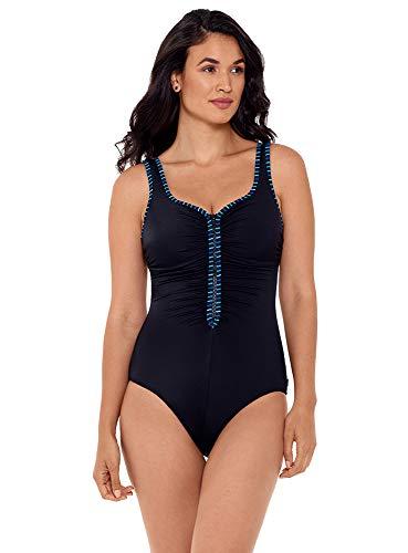 Reebok Damen Bademode Unsere Reißverschlüsse sind versiegelt mit Shirred Reißverschluss Sweetheart Ausschnitt Soft Cup Einteiler Badeanzug - Blau - 40