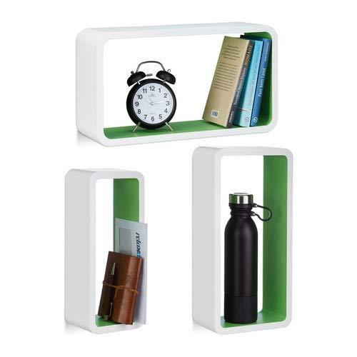 Relaxdays wandrek 3-delige set mat gelakt, XL decoratieve plank in verschillende Maten, belastbare plank tot 10 kg, wit-groen.