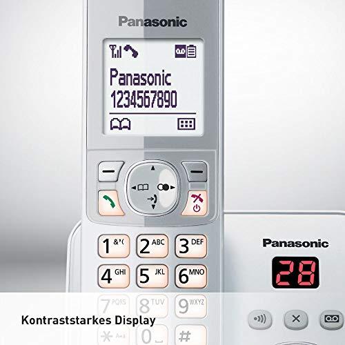 Panasonic KX-TG6821GS DECT Schnurlostelefon mit Anrufbeantworter (strahlungsarm, Eco-Modus, GAP Telefon, Festnetz, Anrufsperre) perl-silber