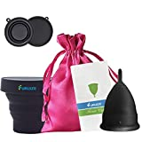 Copa Menstrual Furuize Basic con Taza de Esterilización. Silicona suave de grado médico 100%. Previene infecciones y fortalece el suelo pélvico. Alternativa saludable, económica y ecológica (Talla L)