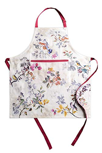 Maison d' Hermine Equinoxe 100% Cotton 1 Piece Kitchen Apron with an Adjustable Neck & Hidden Centre Pocket with Long Ties for Women | Men | Chef | Thanksgiving/Christmas (Beige, 27.50'x31.50')