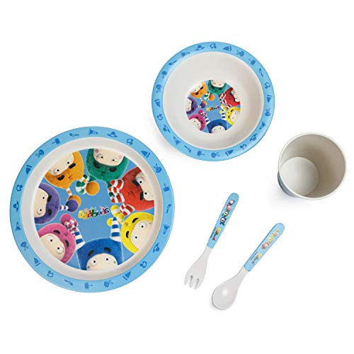 Oddbods Bamboo Fiber Dinnerware Set for Kids, Eco-Friendly Plate, Bowl, Cup, Fork and Spoon, 5 Piece Children's Dining Set with Dishes and Utensils, Non-Toxic, BPA Free