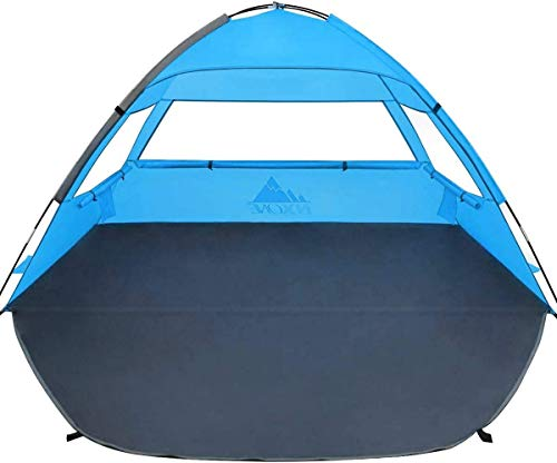 NXONE Beach Tent Sun Shade Shelter for 2-3 Person with UV Protection, Extended Floor, 3 Mesh Roll Up Windows & 8.0mm Fiberglass Rods丨Carry Bag, Stakes, Guy Lines Included (Sky Blue)