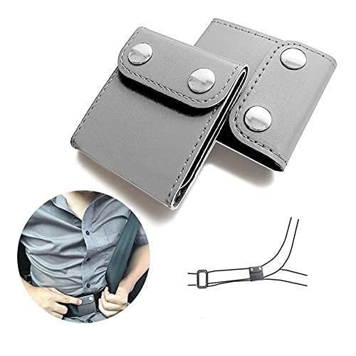 JUSTTOP Seat Belt Adjuster, 2 Pack Universal Vehicle Seat Belt Cover Clips, Comfort Auto Shoulder Neck Protector Strap Positioner Locking Clip-Grey