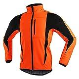 SFITVE Chaqueta de Ciclismo Hombre,Chaqueta Bicicleta Jackets Invierno Ciclismo,Respirable Impermeable Reflectantes Polar Térmico Abrigo de Bicicleta MTB(Size:XL,Color:Naranja)
