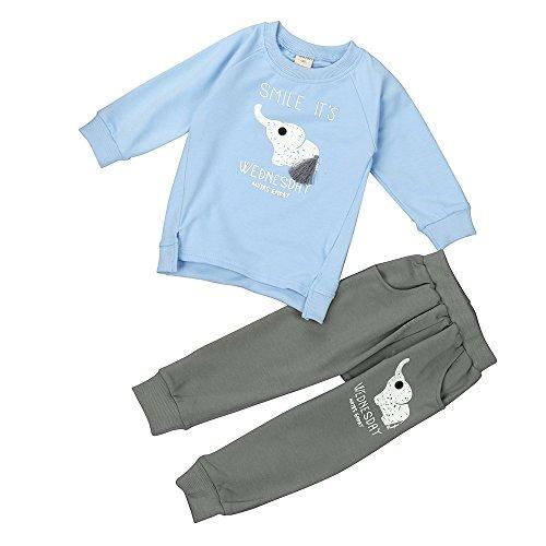 Hawkimin_Babybekleidung Hawkimin Kinder Unisex Baby Mädchen Junge Kinder Elefant Drucken Langarm Top + Hose Sportanzug