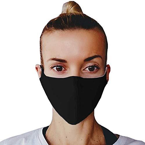 (5, Schwarz) Gesichtsmaske Mundschutz, Baumwoll Stoff Maske, Waschbare Atemschutzmaske, Wiederverwendbarer Mundschutz, Mund Maske Waschbar, Kälteschutz, Staubdichte Maske, hergestellt in der EU