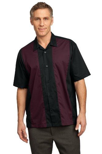 Port Authority® Retro Camp Shirt. S300 Black/Burgundy 4XL