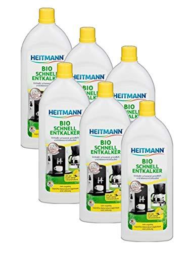 Heitmann Bio Schnell Entkalker: Reinigung von Elektrogeräten, Kaffeemaschinen, Espressomaschinen, Wasserkocher, 6×250ml