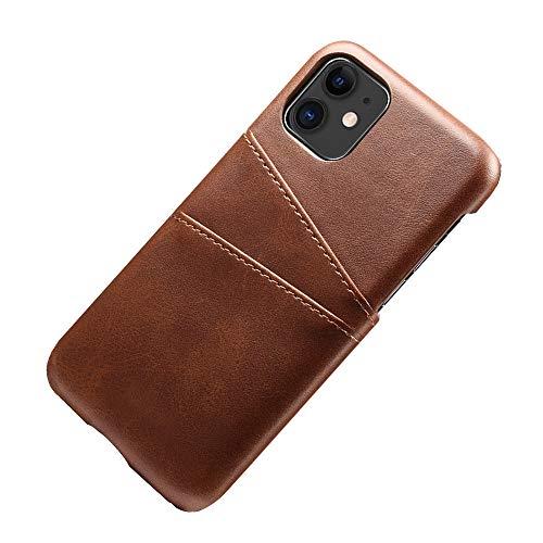 Desconocido Funda iPhone 11 Pro MAX Funda Tarjetero Slim de Piel Sintética Vintage con 2 Ranuras para Tarjetas/DNI Cubierta Simple Fácil de Instalar para iPhone 11/11 Pro (iPhone 11, Marrón)