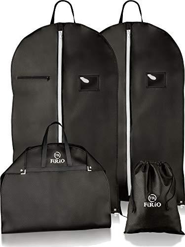 FiRiO® 2 x Kleidersack Anzug Schutzhülle mit Tragegriff | Bonus SCHUHBEUTEL + E-Book | Anzugtasche Kleidertasche Business - Perfekt für Reise & Aufbewahrung | Premium Kleidersäcke mit Reißverschluss