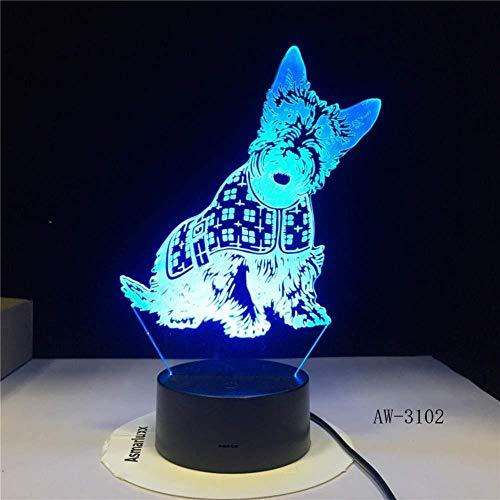 Luz nocturna 3D 7 colores Regalo Schnauzer miniatura Papillon Corgi Perro Diseñado Ilusión Luz nocturna Mascota Cachorro Raza LED Mesa de luz nocturna