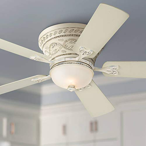 "52"" Ancestry Hugger Low Profile Ceiling Fan with Light LED Dimmable Remote Control French Rubbed White Frosted Glass for Living Room Kitchen Bedroom Dining - Casa Vieja"