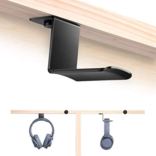 Hommie Metall Silikon Headset Halter, Kopfhörer Haken für mehr Geräte, Kabel usw. Ohrhörer Aufhänger geeignet für Schreibtisch, Schrank, Universal, Schwarz