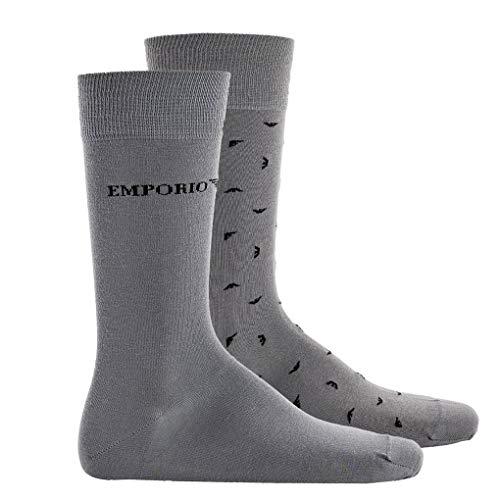 Emporio Armani Herren Socken, 2 Paar - Logodruck, One Size (39-46) (Grau)