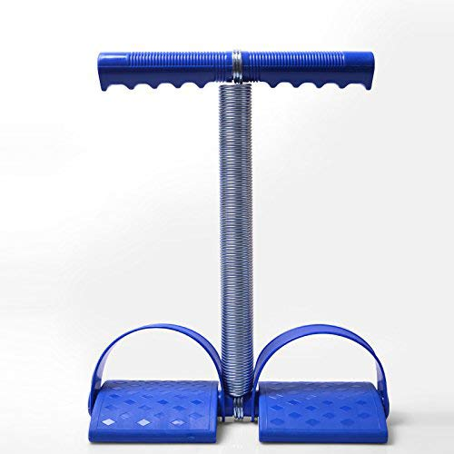 Wkuk Bauchtrainer mit elastischer Feder, Griff und Fußpedale, Trainingsgerät für Gewichtsverlust, Fitness, Yoga , blau