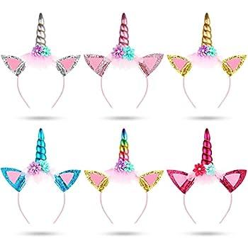 6 Pieces Glitter Metallic Unicorn Horn Glitter Headband Flower Ears Rainbow Unicorn Headbands Metallic Unicorn Headband Colorful for Unicorn Party Supplies Fantasy Favor