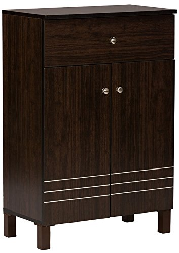 Baxton Studio Wholesale Interiors Felda Dark Brown Modern Shoe Cabinet with 2 Doors and Drawer