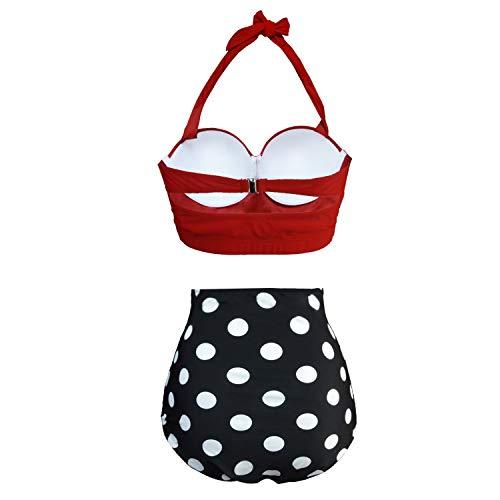 UPhitnis Damen Bikini Set Bademode Retro Stil Blumen Falten Badeanzug, Rot, Gr.- XL - 4