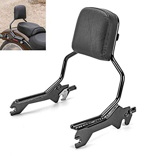 WSays Gloss Black Quick Release Upright Sissy Bar Standard Height Passenger Backrest Compatible with 2018-Up Harley Softail Fat Boy Breakout FLFB FXBR
