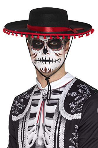 Smiffys SMIFFY 'S 48173Day of The Dead hilft Hat, schwarz/rot, Einheitsgröße