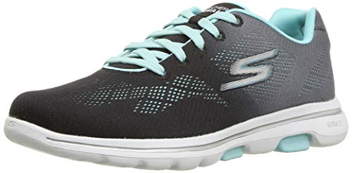 Skechers GO Walk 5-Alive Sneaker, Black/Aqua, 7.5 M US
