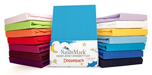 2er Sparpack Kinder Spannbettlaken Jersey 100% Baumwolle für Kinderbettmatratzen ÖKO Tex Geprüft- Gr. 70 x 140 cm, Türkis / Ocean