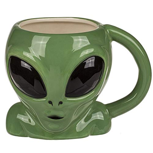 Out of the blue 78/8314 - Taza extraterrestre (loza, 15 x 12 cm), color verde