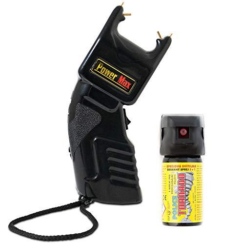 SHD - Power Abwehrset Elektroschocker 500.000 Volt mit PTB Zulassung - im Set mit Profi Pfefferspray Tierabwehrspray 40ml mit Licht - Selbstverteidigung frei verkäuflich ab 18 Jahren