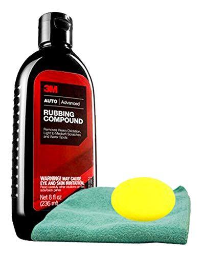 3M Auto Advanced Rubbing Compound (16 oz), Microfiber Cloth & Foam Pad Kit