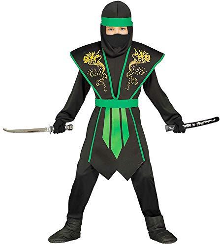 Guirca Disfraz de ninja para niños, verde y negro, con armadura, tallas 110 a 146, disfraz de ninja para Halloween (140/146)