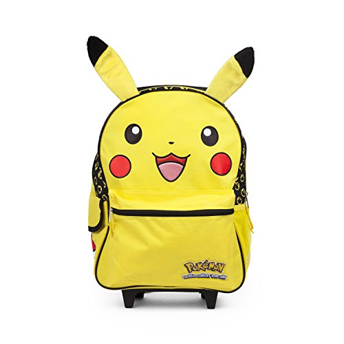 Pokemon Pikachu 16' inch Yellow Rolling Backpack Luggage with Plush Ears
