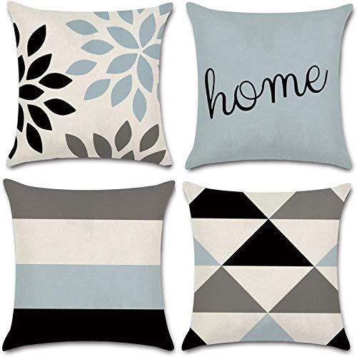 JOJUSIS Modern Geometric Throw Pillow Covers Cotton Linen Home Decor 24 x 24 inch Set of 4 Home