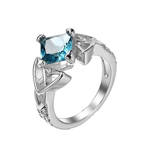 Beydodo Ring mit Stein Damen, Eheringe Versilbert Keltischer Knoten mit Blau Zirkonia Verlobungsring Hochzeit Ring Silber Gr.52 (16.6)