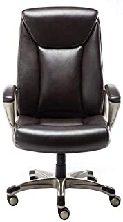 AmazonBasics Bonded Leather Big & Tall Executive Office Computer Desk Chair, 350-Pound Capacity - Brown, BIFMA Certified