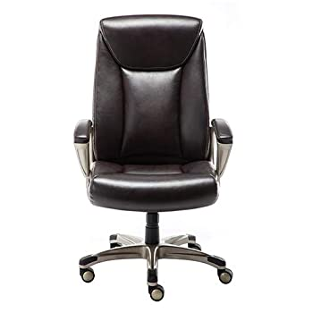 Amazon Basics Bonded Leather Big & Tall Executive Office Computer Desk Chair 350-Pound Capacity - Brown