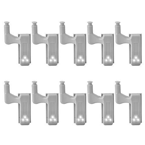 10 unidades de detector de movimiento de bisagra con luz nocturna LED de 0,25W, para cocina, dormitorio, salón, armario, armario ropero