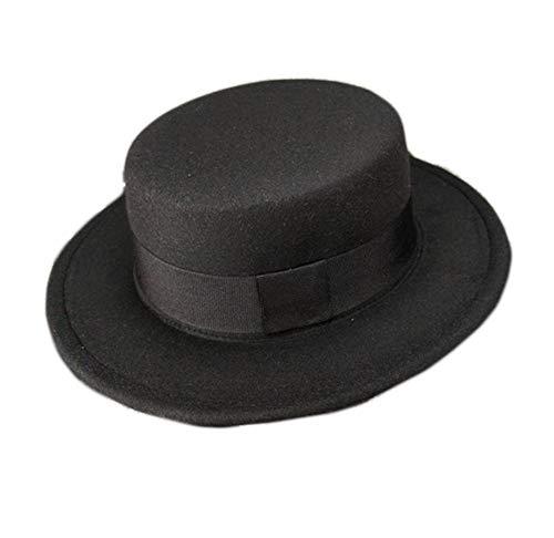 Demarkt Melonen Hut für Damen Jazz Hut Filzhut modernes und schönes Winter Schmuck Kopfumfang von 57cm Schwarz