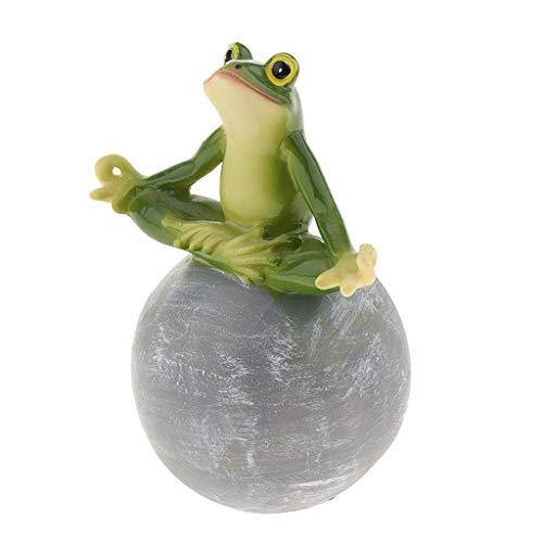 B Baosity Garten Froschfigur Kantenhocker Micro Landschaft Dekor Figuren mit Farbe, handbemalt - A-Yoga