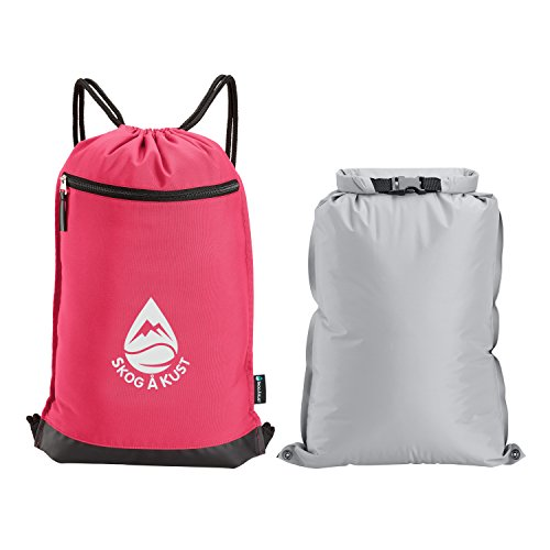 Skog Å Kust GymSak - 2-in-1 Drawstring Gym Bag with Removable Waterproof Bag (Pink)