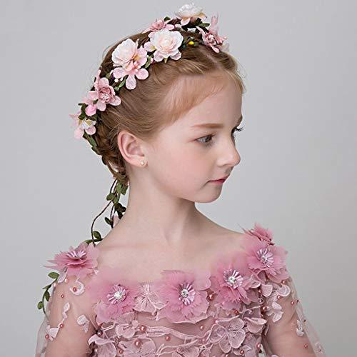 Corona de Flores, Adornos para el Cabello de niña Accesorios de Diadema Corona Tocado de Princesa Infantil (Color: Rosa)