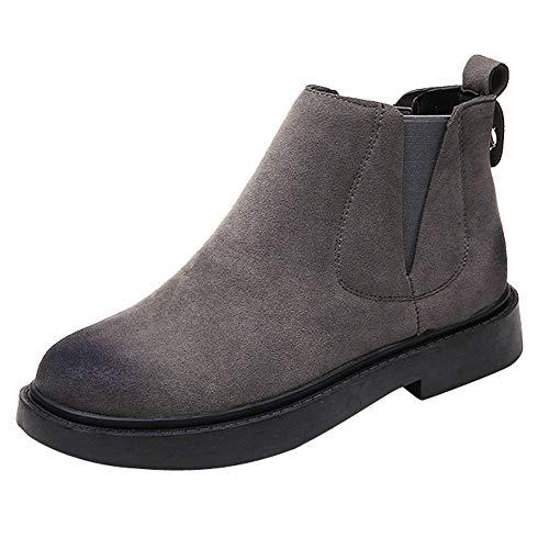S&H-NEEDRA Frauen Round Toe Schuhe Flache Booties Slip-On Wildleder Einfarbig Schuhe Stiefel