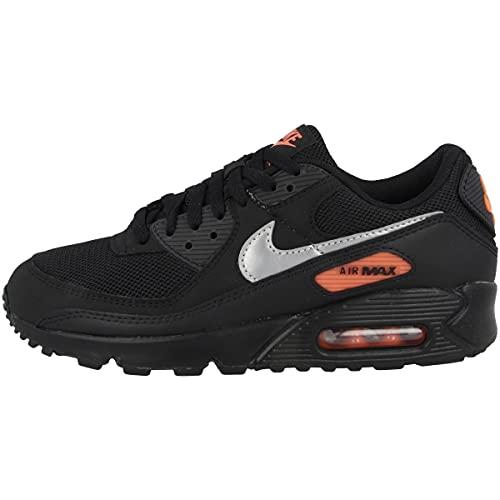 Nike Sneaker da uomo Low Air Max 90, Black Total Orange Reflect Silver Dj6881 001, 38.5 EU
