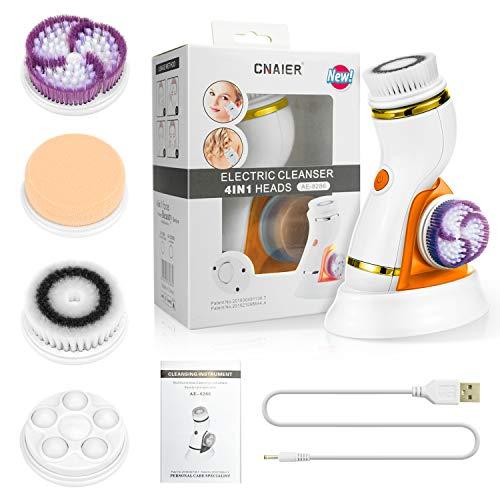 Brosse de nettoyage du visage Ensemble de brosses faciales rechargeables Brosse électrique rotative étanche, 2 vitesses réglables, Orange