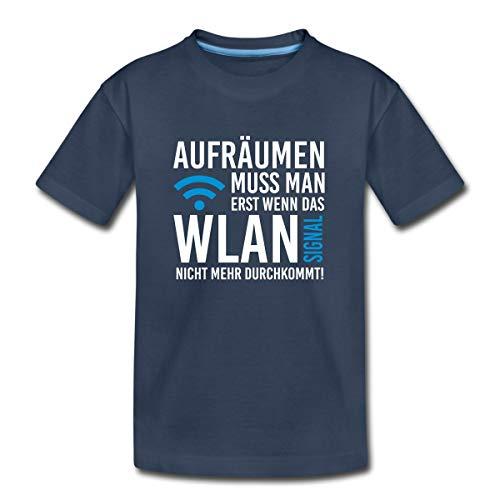 Aufräumen Muss Man Erst Wenn Das WLAN Signal Nicht Mehr Durchkommt Teenager Premium T-Shirt, 158/164 (12 Jahre), Navy