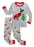 Family Feeling Little Girls Boys Long Sleeve Christmas Pajamas Sets 100% Cotton Pyjamas Toddler Kids Pjs Size 5 Dinosaur