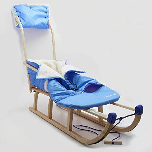 Schlitten HolzFee Davos 110 SL Alaska Big | Babyschlitten mit Schiebelehne Winter-Fußsack Handwärmer (Blau)