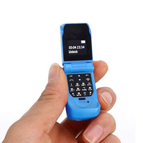 Mini teléfono móvil, teléfono Plegable portátil, teléfono móvil con Cambio de Idioma, teléfono con Pantalla de 0,66 Pulgadas, Compatible con Bluetooth 3.0, 13 Idiomas, 32 MB + 64 MB(Azul)
